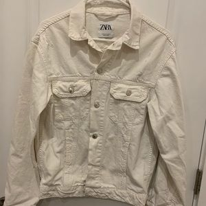 Zara White Oversized Destroyed Jacket